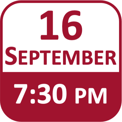 Date Icon for 16 September at 7:30pm