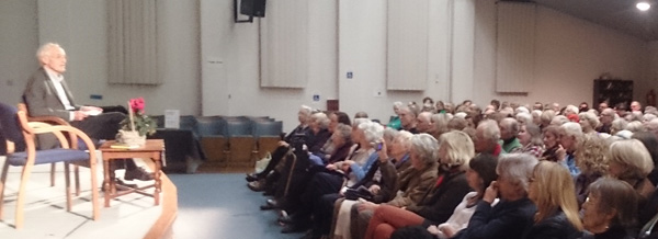 Playwright Michael Frayn speaking at a recent meeting of the Richmond Society