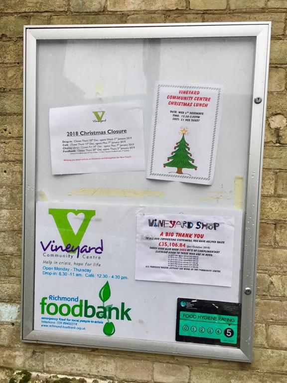 Noticeboard at Vineyard Church