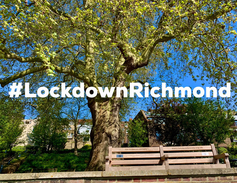 Photo of benches at Bridge House Gardens with Lockdown Richmond hashtag