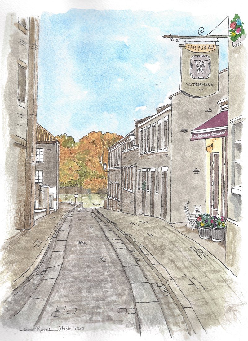 Watercolour of the view down Water Lane, Richmond, painted by Lamar Raine